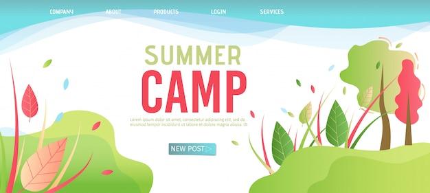 Modelo de página de destino para acampamento de verão de organização