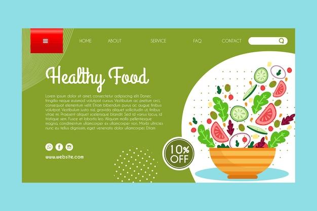 Modelo de página de destino para alimentos saudáveis
