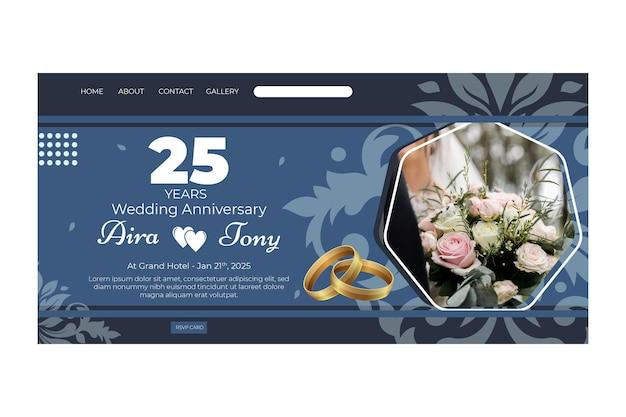 Modelo de página de destino para aniversário de casamento de 25 anos