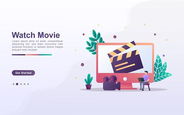 Modelo de página de destino para assistir ao filme