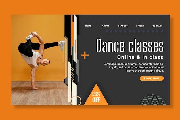 Modelo de página de destino para aulas de dança