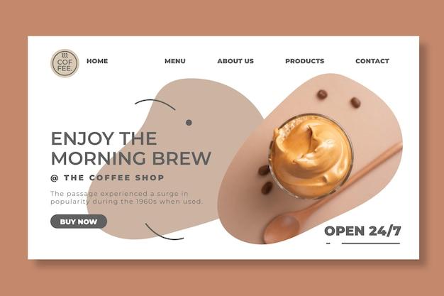 Modelo de página de destino para cafeteria