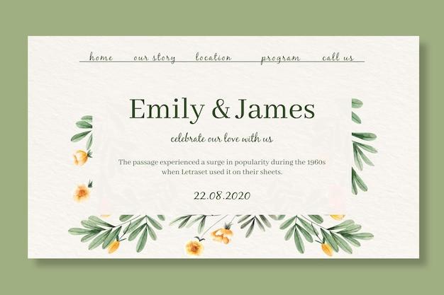 Modelo de página de destino para casamento com flores em aquarela