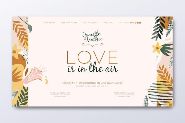 Modelo de página de destino para casamento com folhas