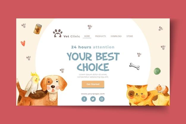 Modelo de página de destino para clínica veterinária