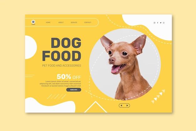 Modelo de página de destino para comida animal com cachorro