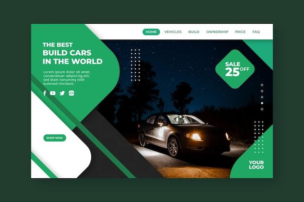 Modelo de página de destino para compras de carro com carro escuro