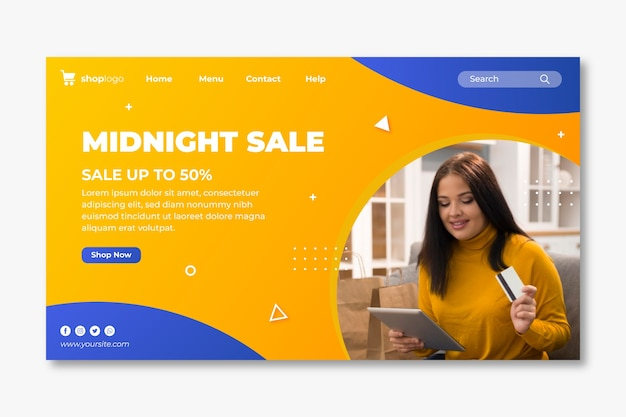 Modelo de página de destino para compras online