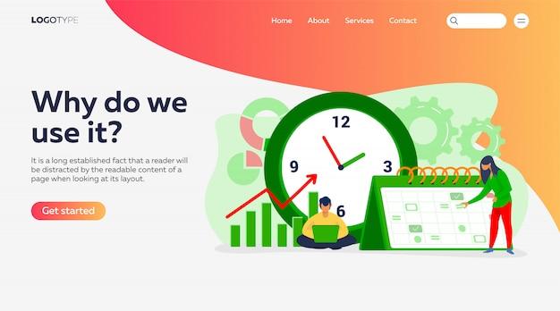 Modelo de página de destino para cronograma e cronograma do projeto