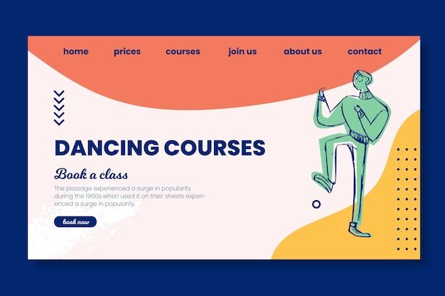 Modelo de página de destino para cursos de dança