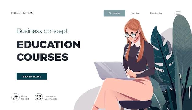 Modelo de página de destino para cursos online educação à distância internet estudando treinamento