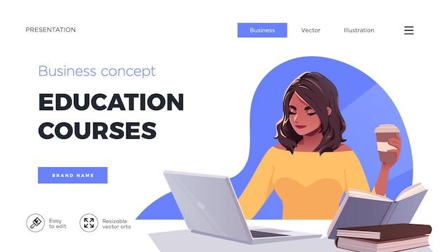 Modelo de página de destino para cursos online educação a distância internet estudando treinamento