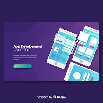 Modelo de página de destino para desenvolvimento de aplicativos