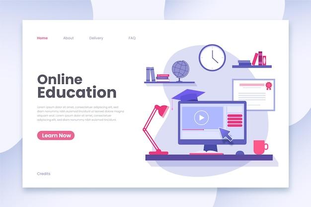 Modelo de página de destino para educação on-line