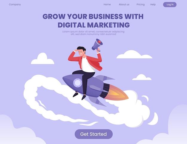 Modelo de página de destino para expandir seus negócios com estratégia de marketing de mídia social
