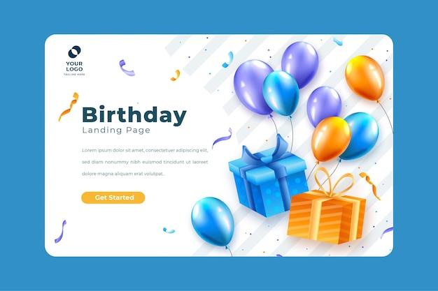 Modelo de página de destino para festa de aniversário