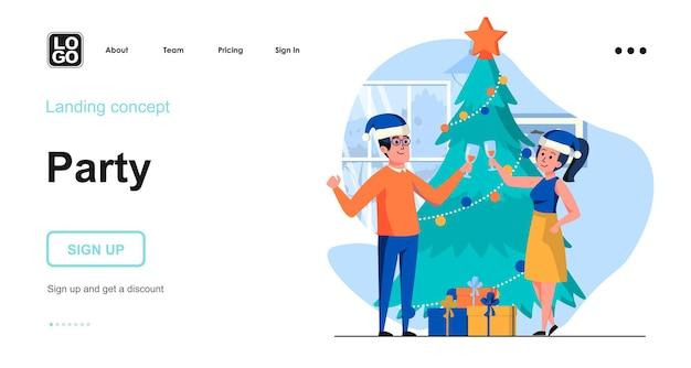 Modelo de página de destino para festa de natal
