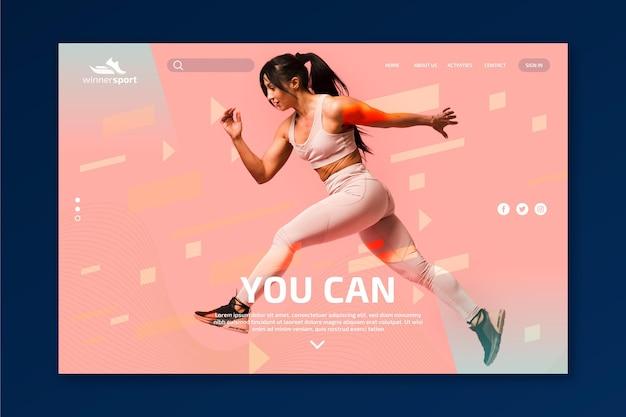 Modelo de página de destino para fitness de academia