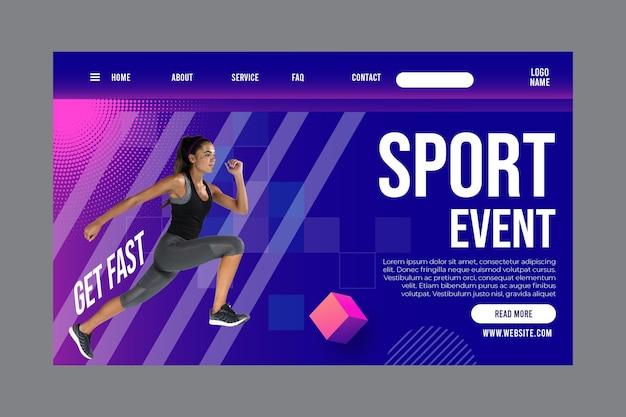 Modelo de página de destino para fitness e esportes