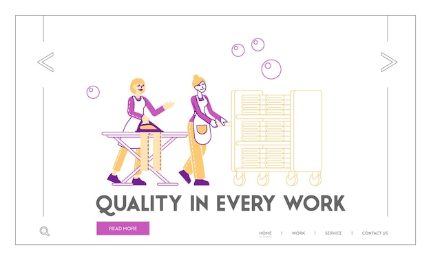 Modelo de página de destino para lavanderia e lavanderia self-service