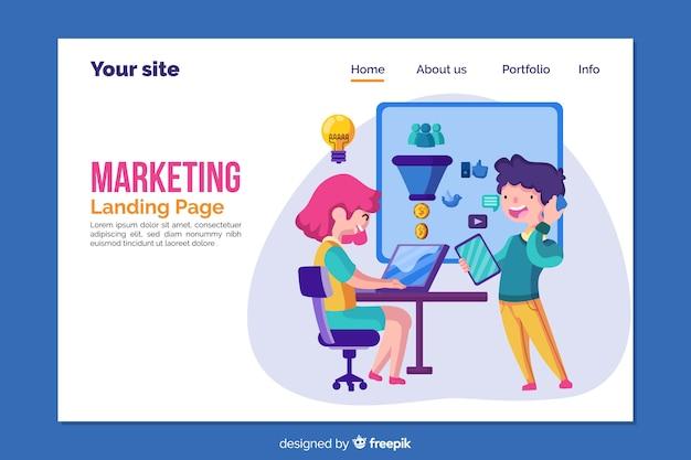 Modelo de página de destino para marketing