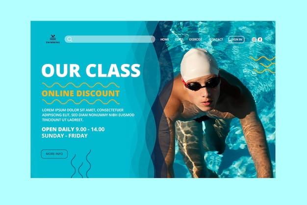 Modelo de página de destino para natação é aulas de vida