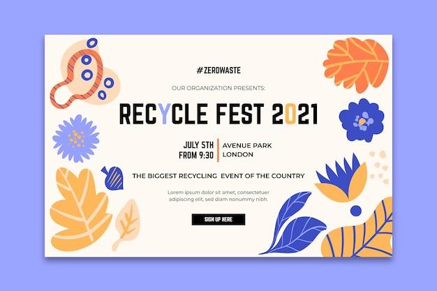 Modelo de página de destino para o festival do dia de reciclagem