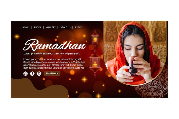 Modelo de página de destino para o ramadã