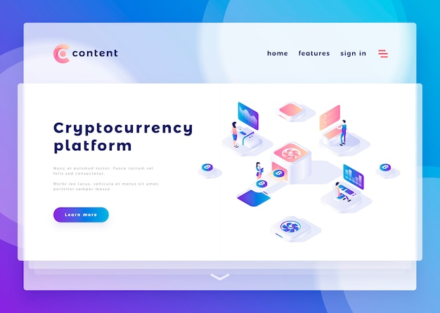 Modelo de página de destino para o site da plataforma cryptocurrency