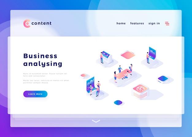 Modelo de página de destino para o site de análise de negócios