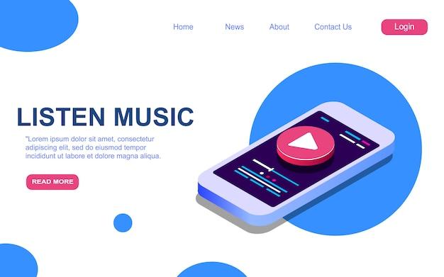 Modelo de página de destino para ouvir música