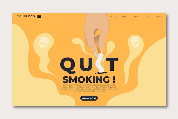 Modelo de página de destino para parar de fumar