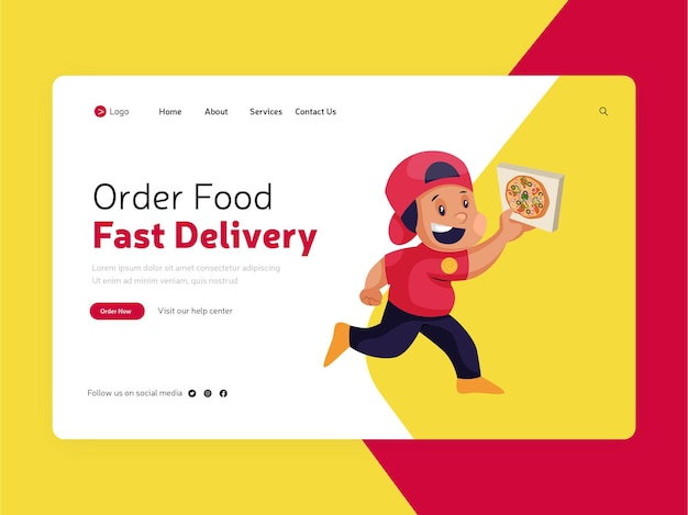Modelo de página de destino para pedido de comida com entrega rápida