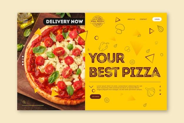 Modelo de página de destino para pizzaria