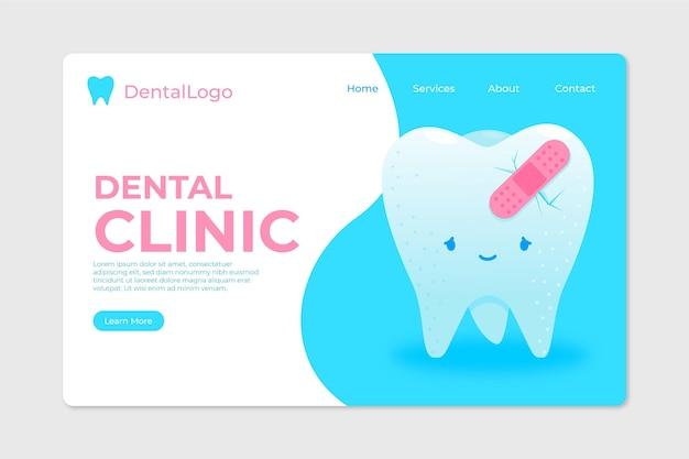 Modelo de página de destino para planos odontológicos Vetor Premium