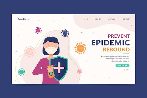 Modelo de página de destino para prevenção de rebote epidêmico