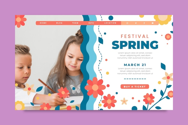 Modelo de página de destino para primavera com crianças