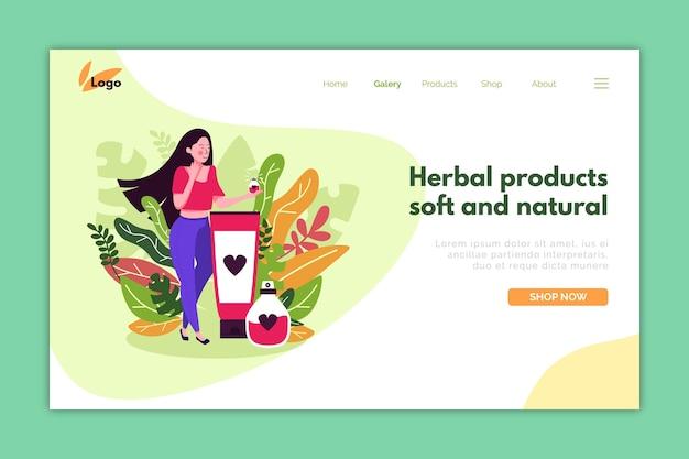 Modelo de página de destino para promoção de cosméticos naturais