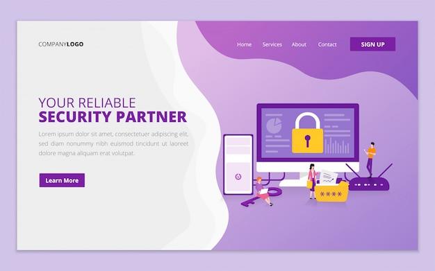 Modelo de página de destino para proteção de dados e segurança na internet