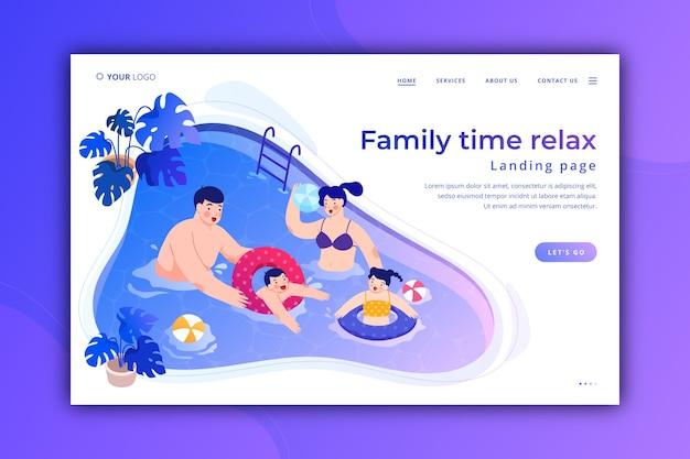 Modelo de página de destino para relaxar em família