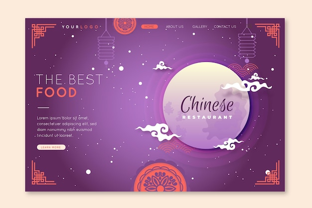 Modelo de página de destino para restaurante chinês com lua