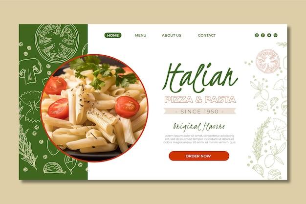 Modelo de página de destino para restaurante de comida italiana