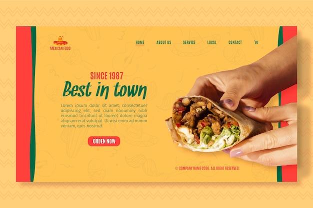 Modelo de página de destino para restaurante de comida mexicana