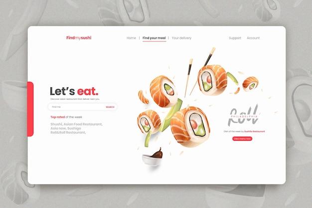 Modelo de página de destino para restaurante de sushi