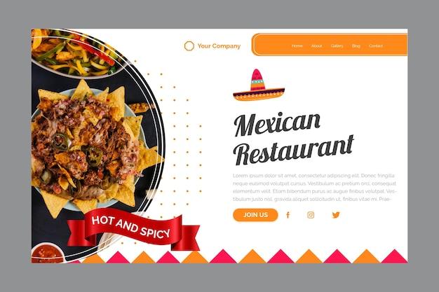 Modelo de página de destino para restaurante mexicano