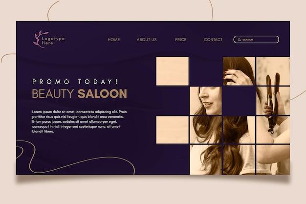 Modelo de página de destino para salão de beleza