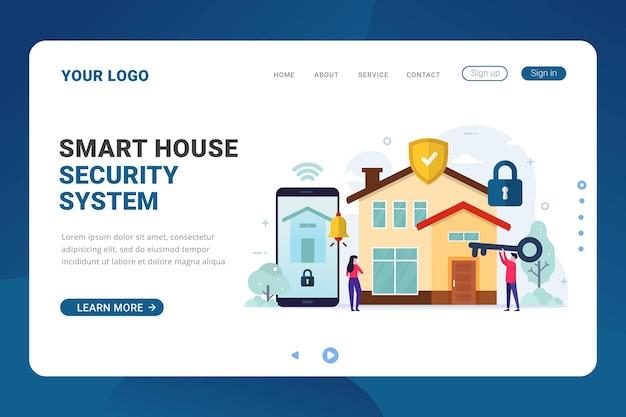 Modelo de página de destino para sistema de segurança de casa inteligente