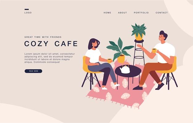 Modelo de página de destino para sites com casal sentado à mesa, bebendo chá ou café e conversando. bandeira de ilustração de conceito de coxy cafe.