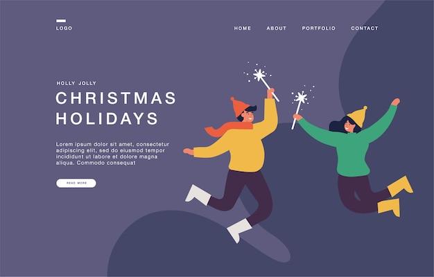 Modelo de página de destino para sites com casal vestido de maneira aconchegante estão pulando e segurando brilhos. ilustração da bandeira do conceito de natal dos desenhos animados.