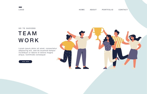 Modelo de página de destino para sites com grupo de jovens alegres com a taça de campeão. ilustração de banner de conceito de equipe de sucesso